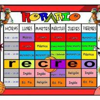 Planificador semanal. Horario colegio